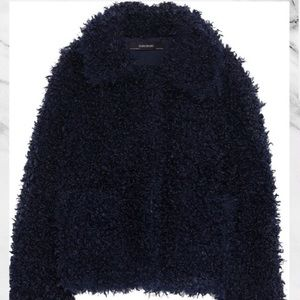 Zara Navy Teddy Jacket Coat